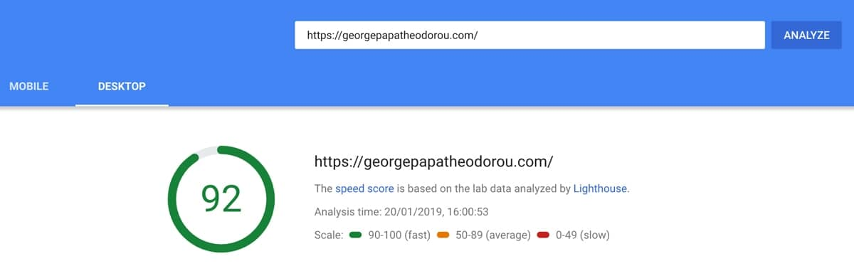 PageSpeed Insights for georgepapatheodorou.com