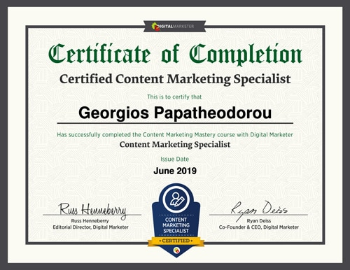 Content Marketing Specialist Certificate