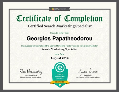 Certified Search Marketing Specialist - George Papatheodorou